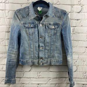 Denim distressed jean jacket with some stretch